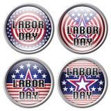 Pin Labor dag Arbets- dag för klistermärke Knapp för arbets- dag över den vita bakgrundsvektorillustrationen Arkivbild