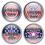 Pin Labor day. Sticker Labor day. Labor day button over white background vector illustration Stock Photography