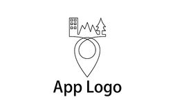 Pin line logo. A logo, that can be used for an app for finding different places in a country, or the world. It is done as a line art, interconnected and simple Royalty Free Stock Photos