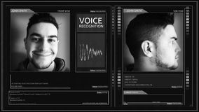 Pin liso futurista de la esquina del interfaz del reconocimiento vocal de Digitaces almacen de video