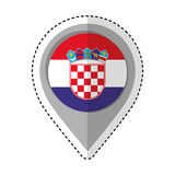 Pin location croatia flag icon Royalty Free Stock Photos