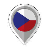 Pin location Czech Republic flag icon Royalty Free Stock Images