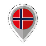 Pin location norway flag icon Stock Photography