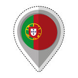 Pin location portugal flag icon Royalty Free Stock Images