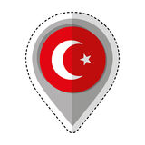 Pin location turkey flag icon Stock Image
