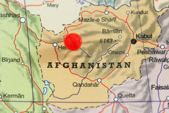 Pin on a map of Afghanistan Stock Photos