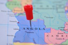 Pin in map of Angola, Africa Stock Images