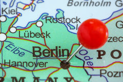 Pin on a map of Berlin Stock Image