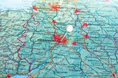 Pin on map with Birmingham Stock Photography