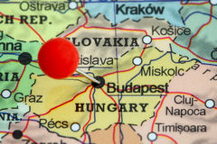 Pin on a map of Budapest royalty free stock image