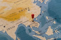 A pin on hanoi, vietnam in the world map stock image