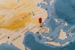 A pin on hanoi, vietnam in the world map royalty free stock images