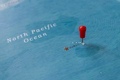 A pin on hawaii in the world map royalty free stock images