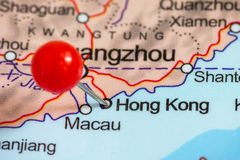 Pin on a map of Hong Kong. Close-up of a red pushpin on a map of Hong Kong, China stock photo
