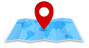 Pin map iconon a blue map Royalty Free Stock Images