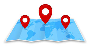 Pin map icon on a blue map Stock Image