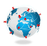 Pin map iconon a blue world map Stock Photography