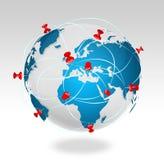 Pin map iconon a blue world map Stock Photo