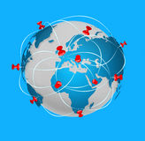 Pin map iconon a blue world map Stock Images