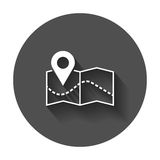 Pin on the map icon. Map gps vector illustration Stock Images