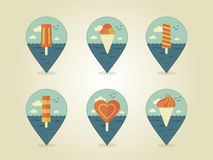 Pin map icons ice cream Stock Image