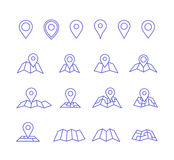 Pin and map icons. Vector pins and maps Make your own custom location pin icon. Navigation and route elements. Vector icons for contact web page Royalty Free Stock Photo