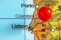 Pin on a map of Lisbon Stock Images