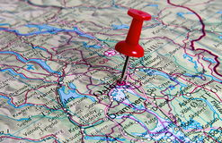 Pin in map Stock Photography