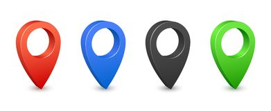 Pin map place location 3d icons. Color gps map pins. Place location and destination signs. Navigation pin pointers. Vector set royalty free illustration