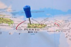 Pin in Map of Puerto Rico Royalty Free Stock Photography