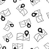 Pin on the map seamless pattern background. Business flat vector. Illustration. Map gps sign symbol pattern Stock Photos