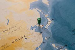 A pin on seoul, south korea in the world map royalty free stock photos
