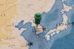 A pin on seoul, south korea in the world map stock image