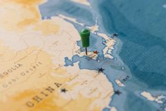 A pin on seoul, south korea in the world map royalty free stock images