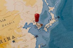 A pin on seoul, south korea in the world map stock images