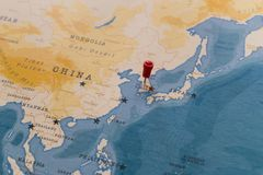 A pin on seoul, south korea in the world map royalty free stock photo