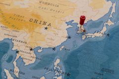 A pin on seoul, south korea in the world map stock photos