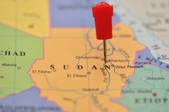 Pin in map of Sudan, Khartoum Stock Image