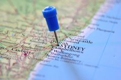 Pin in map of Sydney Stock Images
