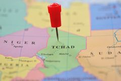Pin in map of Tchad, Africa Royalty Free Stock Photography