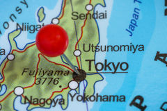 Pin on a map of Tokyo Royalty Free Stock Images