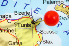Pin in a map of Tunis royalty free stock photography
