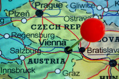 Pin on a map of Vienna Stock Photos