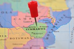 Pin in Map of Zimbabwe Royalty Free Stock Photography