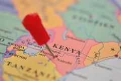 Pin in maps of Nairobi, Kenya Royalty Free Stock Images