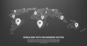 Pin Marker with polygon world map perspective view. Concept of GPS, travel, Location, transportation Royalty Free Stock Photos