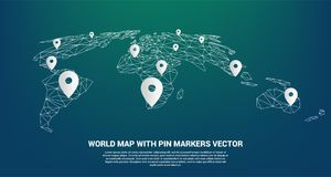 Pin Marker with polygon world map perspective view. Concept of GPS, travel, Location, transportation Royalty Free Stock Photo