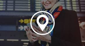 Pin Marker Travel Destination Location-Reisconcept Royalty-vrije Stock Afbeelding