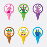 Pin Monster Pointer Icon Foto de Stock