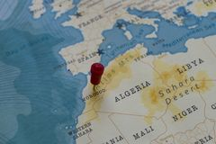 A pin on morocco in the world map.  royalty free stock photo